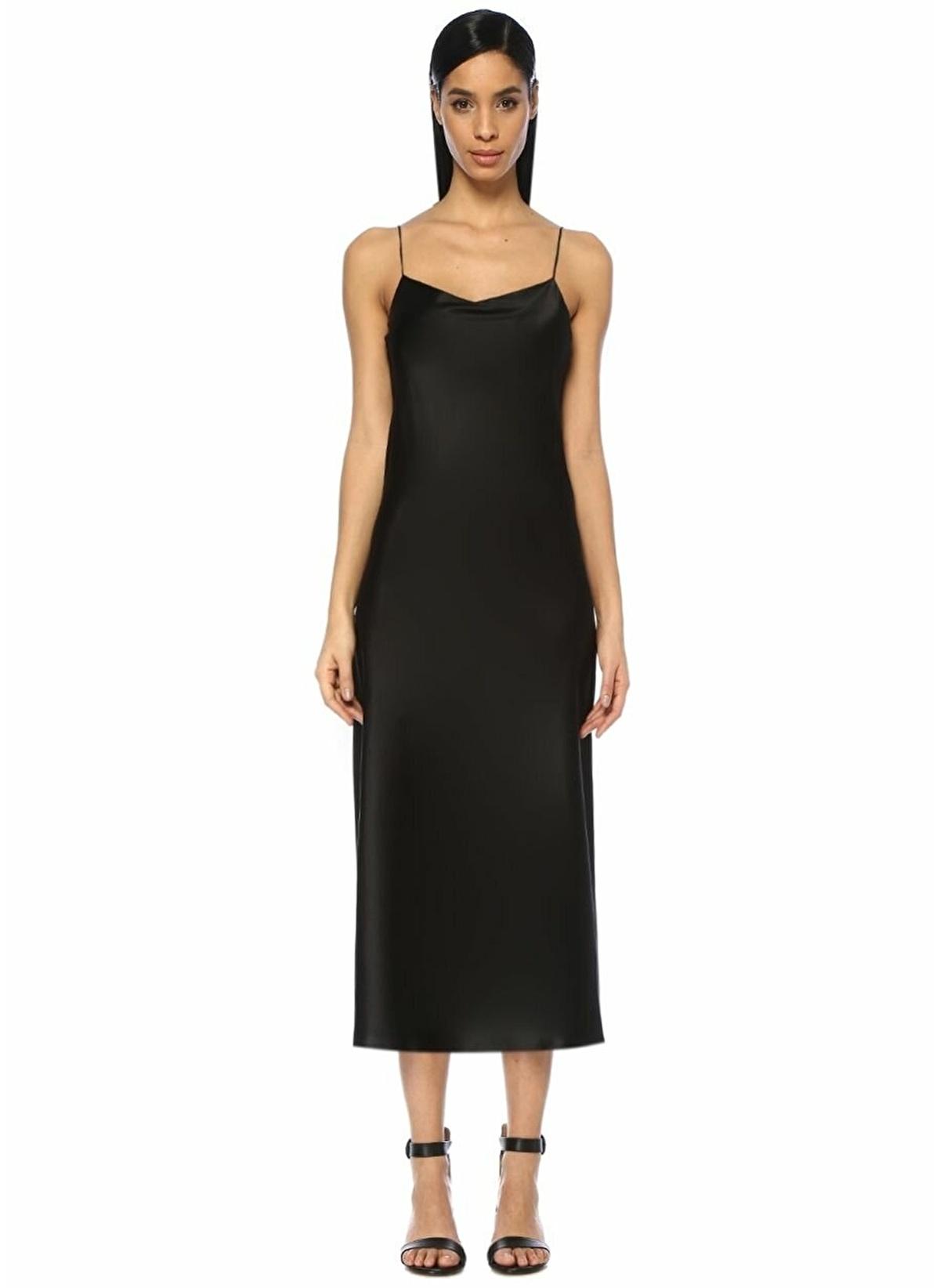 9227c736e0f06 Joseph Kadın V Yaka İp Askılı Midi Saten Elbise Siyah | Morhipo ...